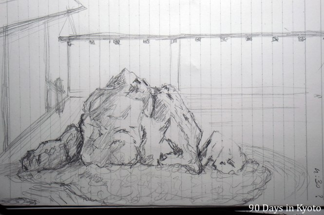 Sketch 1 of the group of stones on the left side of the garden
